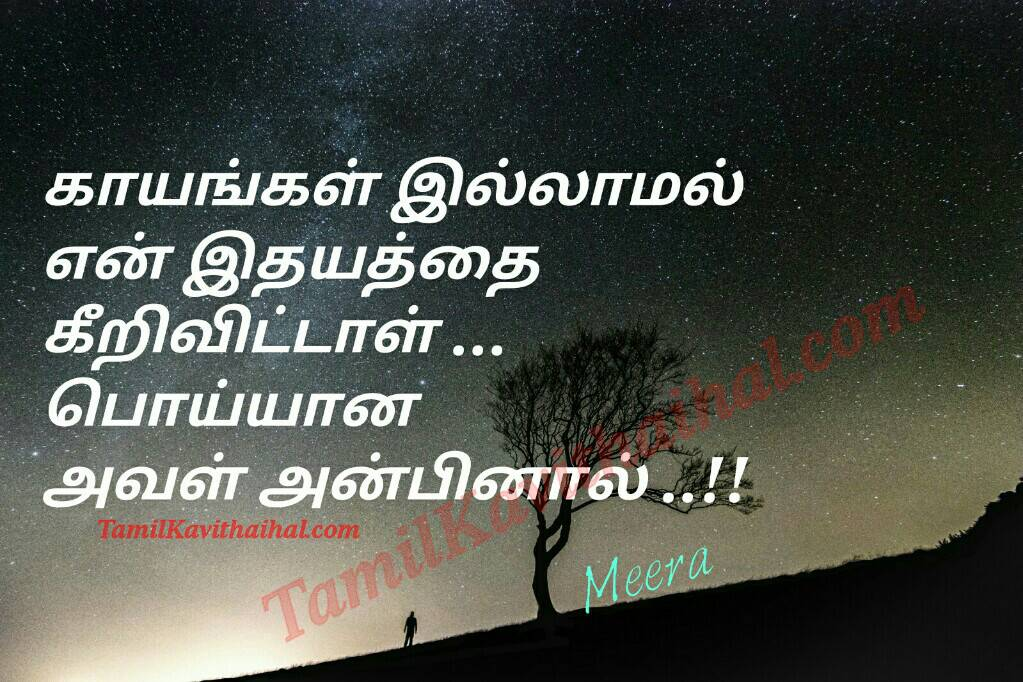love failure quotes in tamil kayam idhayam keeral anbinal