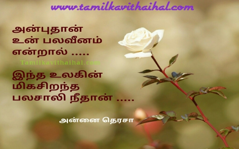 mother therasa quotes saying with image and pic tamil kavithai about anbu palam palaveenam