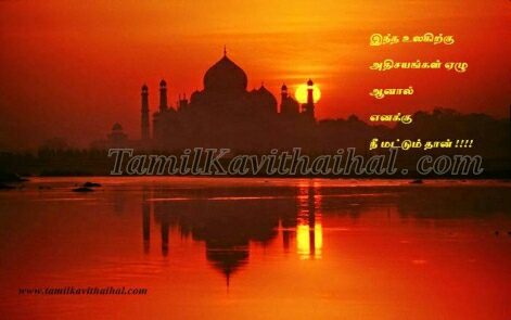 Beautiful Night TajMahal love quotes tamil kavithai