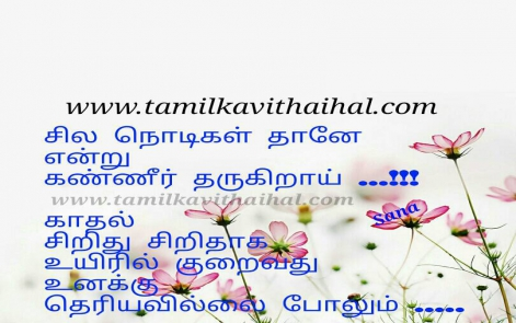 beautiful love feelings ematram kavithai in tamil sana vali sad quotes nodikal kanner kayam uyir aaruthal illai whatsapp image