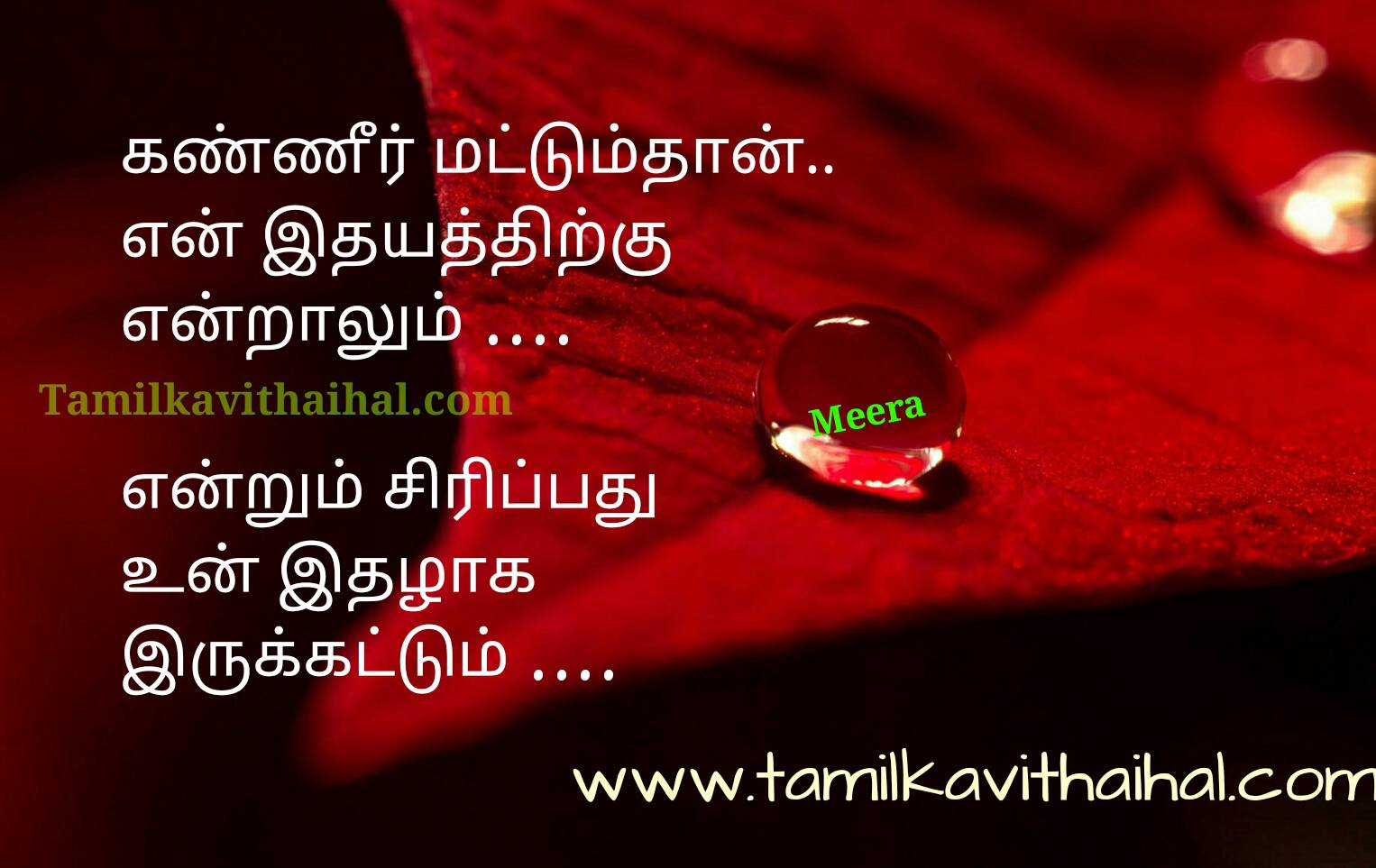 Beautiful heart touching one side soham about love failure meera poem sirippu idhal lips idhayam pic collection