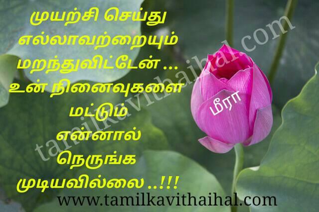 Beautiful kadhal kavithai ninaivukal marakka mudiyadhu love sweet memory meera poem status dp image