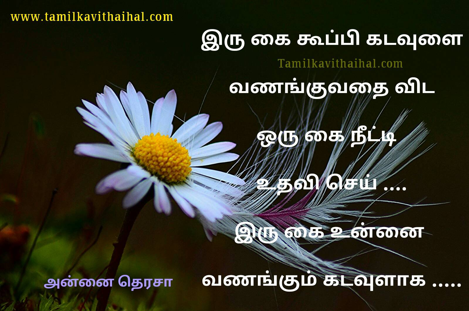 Beautiful mother therasa ponmozhikal in tamil quotes about god help life speech hd image