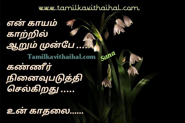 Heart pain kavithai for tamil love sana poem kayam thandha kadhal kanner ninaivu selkiradhu kaatru image