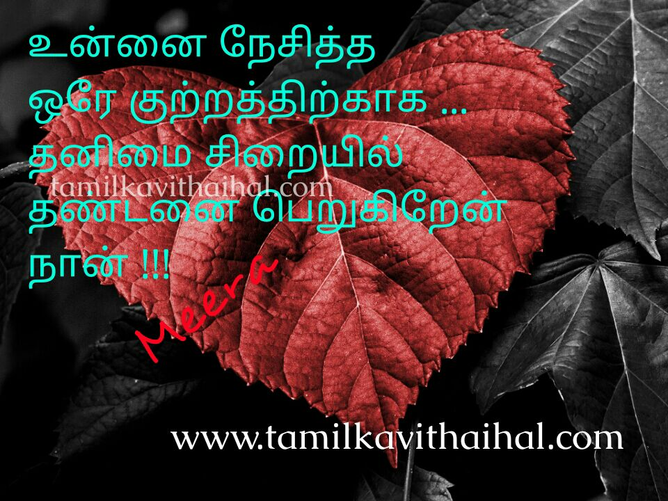 Heart touching sad kavithai kadhal vali nesam thanimai lonely sirai thandanai punishment life meera poem picture