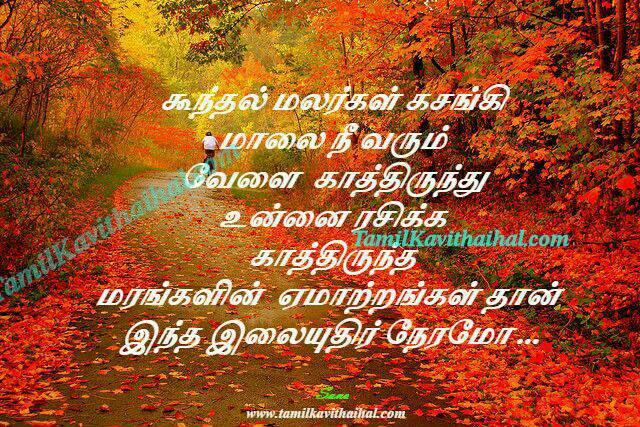 Koondhal malar salai malai rasikan maram ilai love kavithai romance feel tamil sana poem