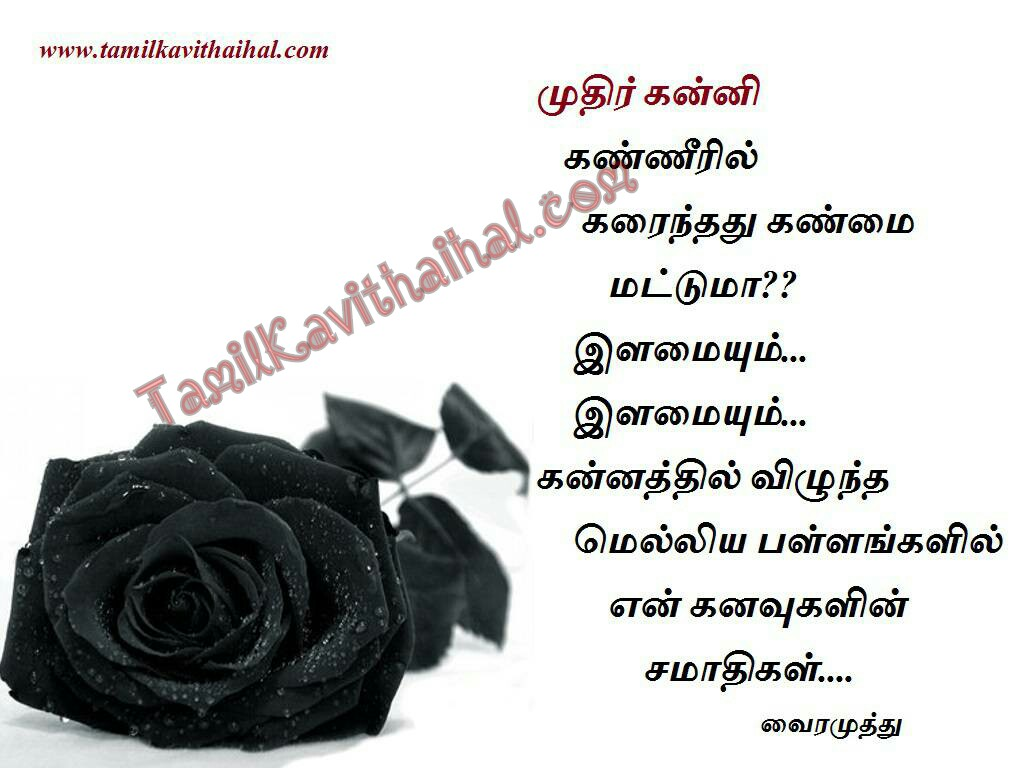 Vairamuthu kavithaigal kanni kanneer ilamai kanavu samathi love failure kadhal tholvi tamil quotes images download
